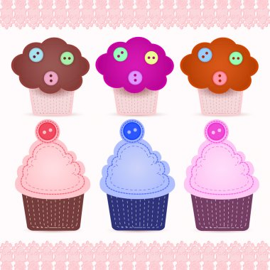 Set of cute cupcakes stock vector