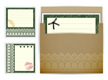 Vintage post card background sample with different element stock vector