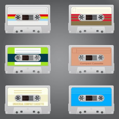 Audio tape set of six vintage records stock vector