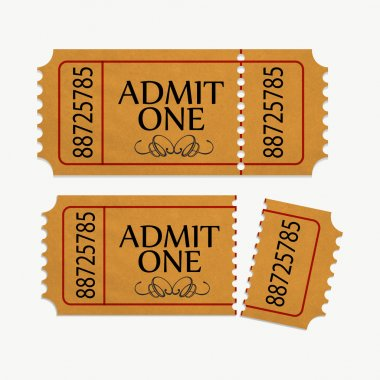 Pair of yellow cinema tickets on white stock vector