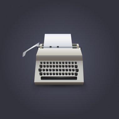 Typewriter with paper, vector design stock vector