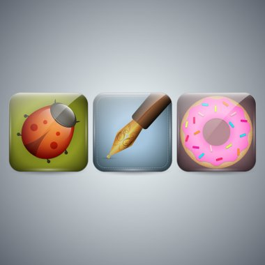 Ladybug and Pen and donut Icon stock vector