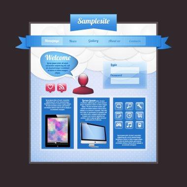 Website Web Design Elements Blue Template stock vector