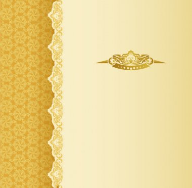 Stylish vintage background with golden ornament and pattern stock vector