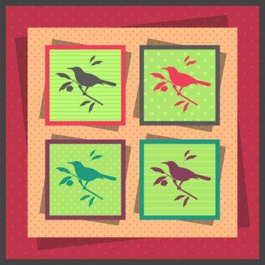 Set of four bird stock vector