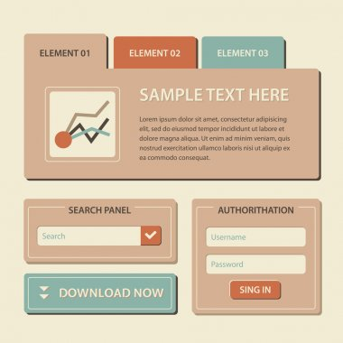 Web site design template navigation elements with icons set: Navigation menu bars stock vector
