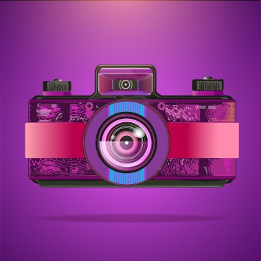 Vector purple retro camera stock vector