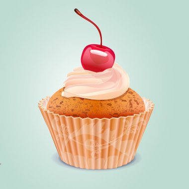 Yummy Cherry Cake. Vector stock vector