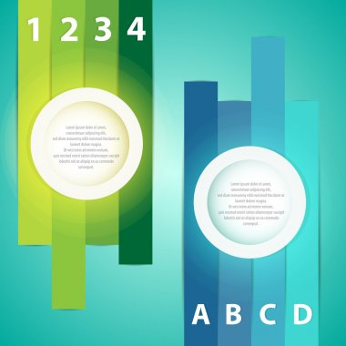 Colorful presentations with letters and numbers stock vector