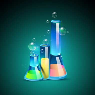 Three laboratory bottles. Vector stock vector