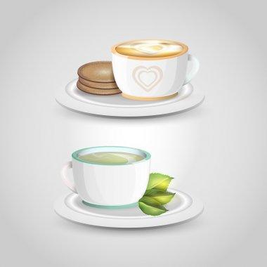 Two vector cups of tea stock vector