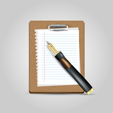 Vector Notepad paper with pen stock vector