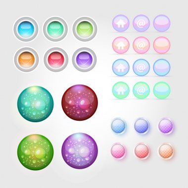 Web buttons icon set. Vector illustration. stock vector