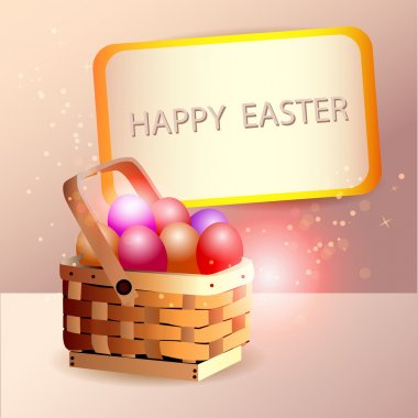 Easter eggs in basket with spring flower decoration. Vector stock vector