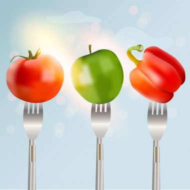 Pepper, tomato and apple on forks Concept of diet. Vector illustration. stock vector