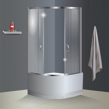 Vector bathroom with shower stock vector