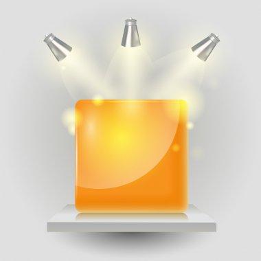 Vector cube under spotlight stock vector