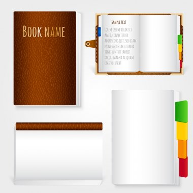 Set of brown leather notebook on white background stock vector
