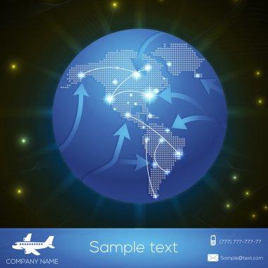 Vector airplane flight paths over earth globe stock vector