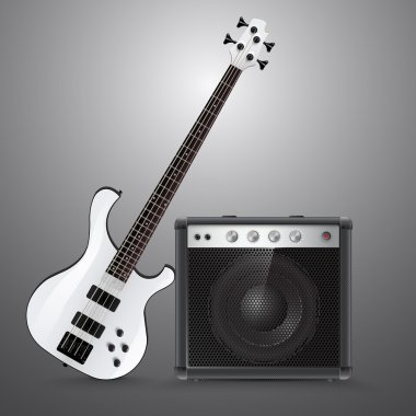 Bass guitar and combo. Vector illustration. stock vector