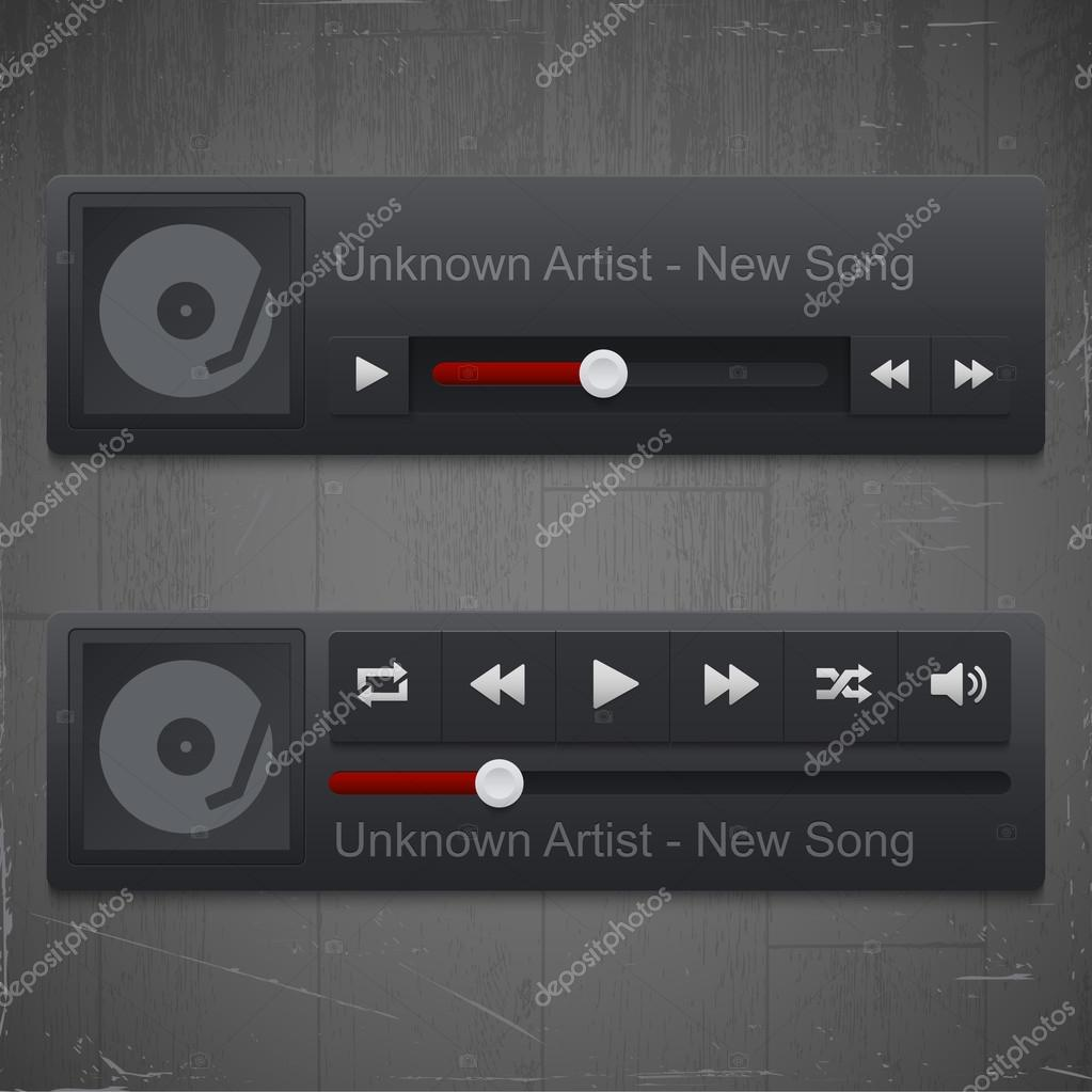 Control panel of media player stock vector
