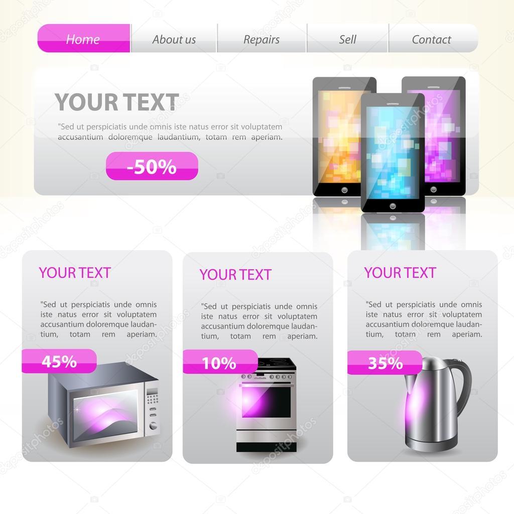Shop website template design. Vector stock vector