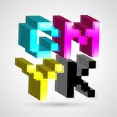 3D cmyk. vektorové ilustrace