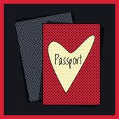 Heart passport cover. Vector illustration