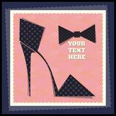 A retro-stílusú cipő képeslap. Vektoros illusztráció