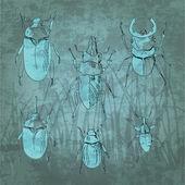 Gravírozó vintage rovar készlet. Vektoros illusztráció