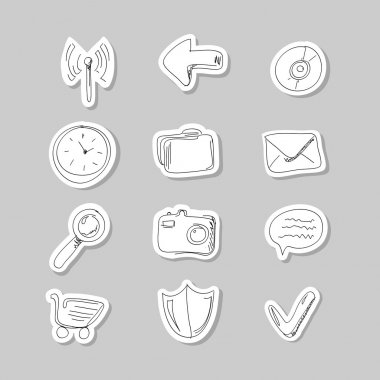 Funny hand-drawn icons set. Vector illustration stock vector