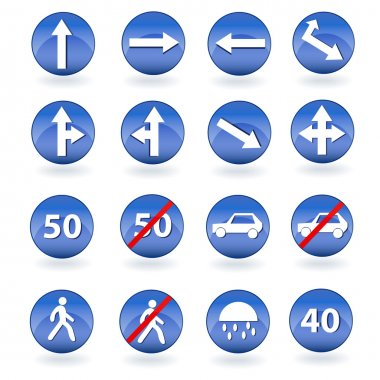 Circle blue road signs. Vector illustration stock vector