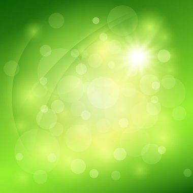 Sunny abstract green nature background. Vector illustration stock vector