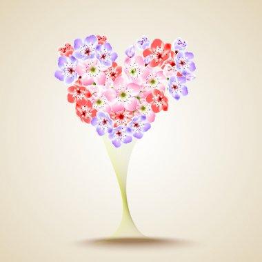 Floral heart shape. Vector illustration stock vector
