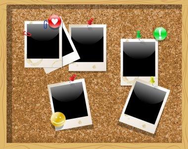 Corkboard with polaroid photos. Vector illustration stock vector