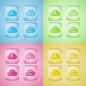 nastavení ikony cloudu, vektorové ilustrace