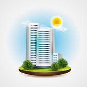 ikona budovy, vektorová ilustrace