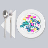 Pills on the plate, vector