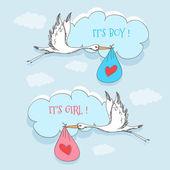 Storch und Baby für Mädchen und Jungen