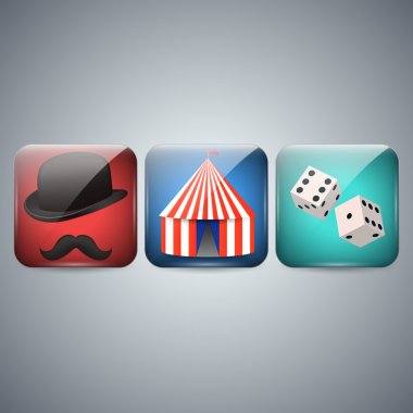 Circus, Hat and dice Icon stock vector