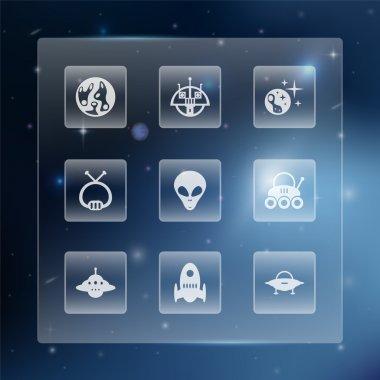 Space button set,  vector illustration stock vector