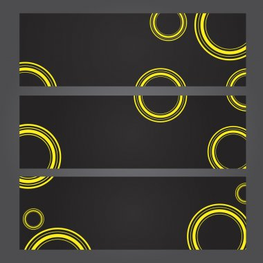 Set of banners with yellow circles stock vector