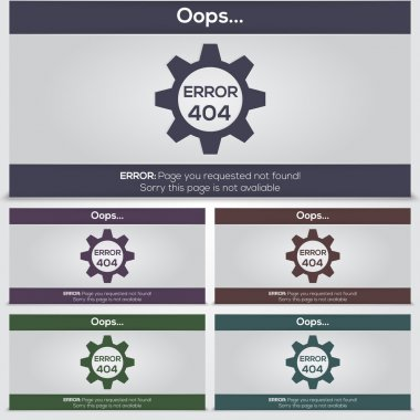 Set of vector 404 error icons for web stock vector