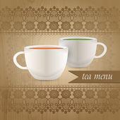 Tea menüt, vektoros illusztráció