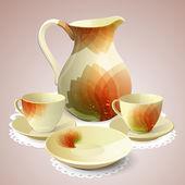 Illustration of coffee set or tea set