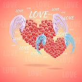 Rózsaszín szív angyal szárnyakkal
