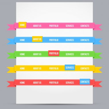 Web design template elements with icons set stock vector