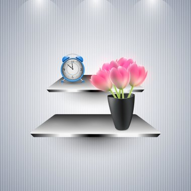 Alarm clock and flowers stock vector