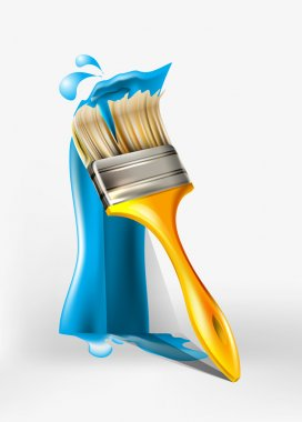 Paint brush painting with blue paint stock vector