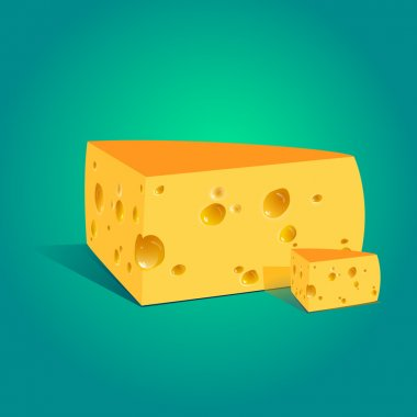 Vector illustration of a piece of cheese. stock vector